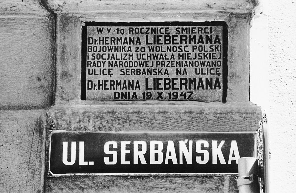 Tablica w sprawie nadania nazwy ulica Liebermana