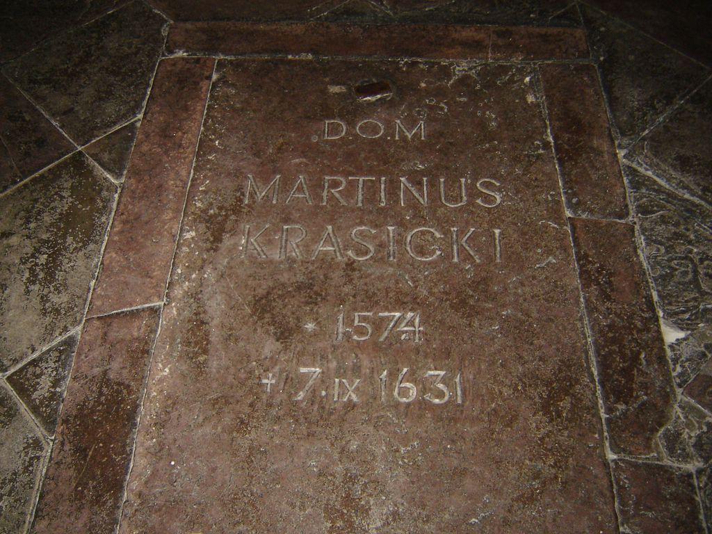 płyta nagrobna Marcina Krasickiego w Kościele Karmelitów