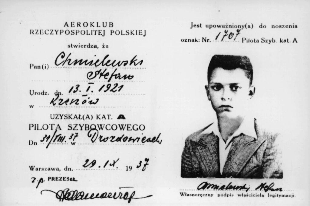 Legitymacja pilota szybowcowego kat. A. Stefana Chmielewskiego