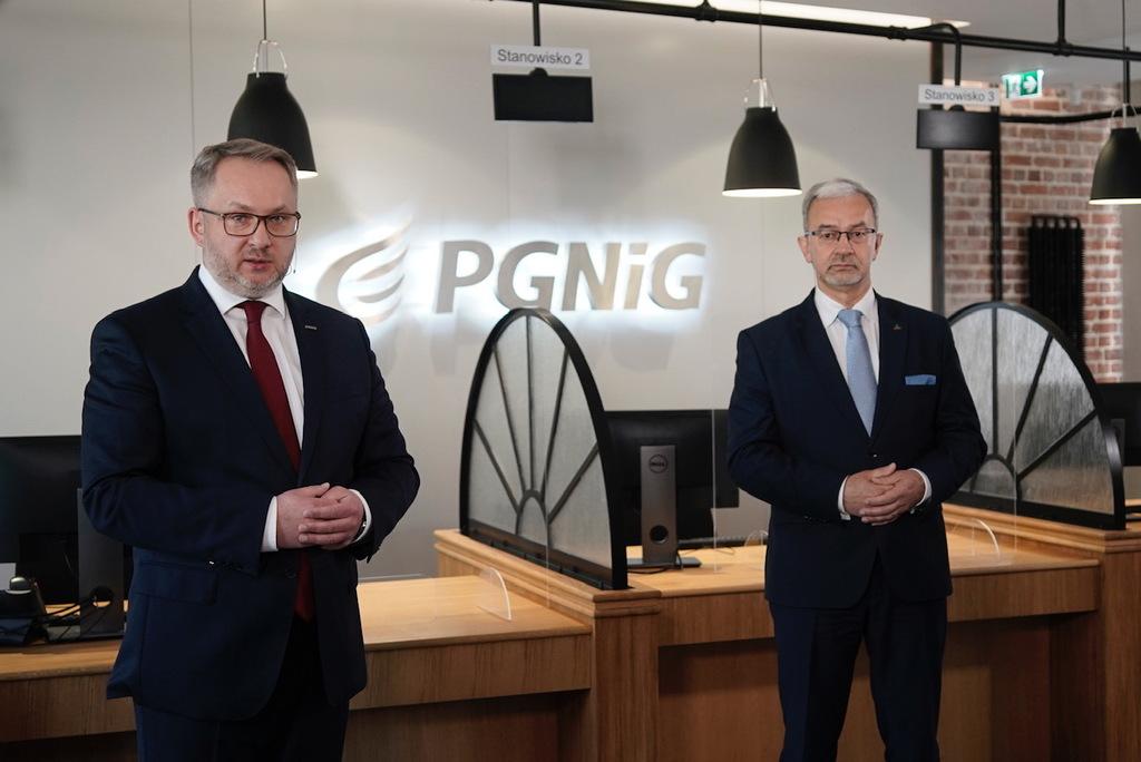 Otwarcie Biur Obsługi Klienta PGNiG - Prezes Henryk Mucha (z lewej) i Prezes Jerzy Kwieciński.jpeg