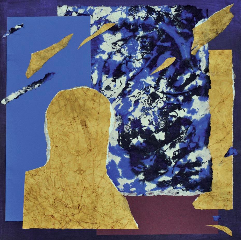 Uranos 2020 kolaż, papier czerpany, tapeta, karton / collage, handmade paper, wallpaper, cardboard 60 x 60 cm