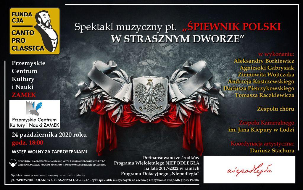 """Plakat promujący koncert """"Śpiewnik polski w Strasznym Dworze"""""""