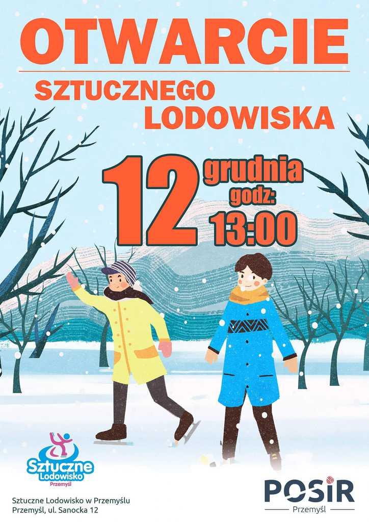 plakat zapraszający na otwarcie lodowiska