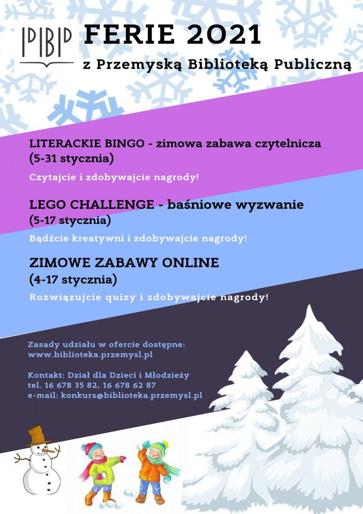 Plakat opisujący tematykę zajęć w trakcie ferii, grafika przedstawiająca bawiące się w śniegu dzieci. Tekst alternatywny w pliku poniżej