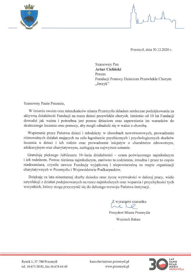List gratulacyjny dla prezesa fundacji jerzyk