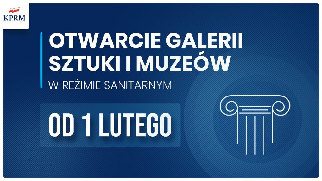 plansza z napisem Otwarcie galerii sztuki i muzeów w reżimie sanitarnym od 1 lutego