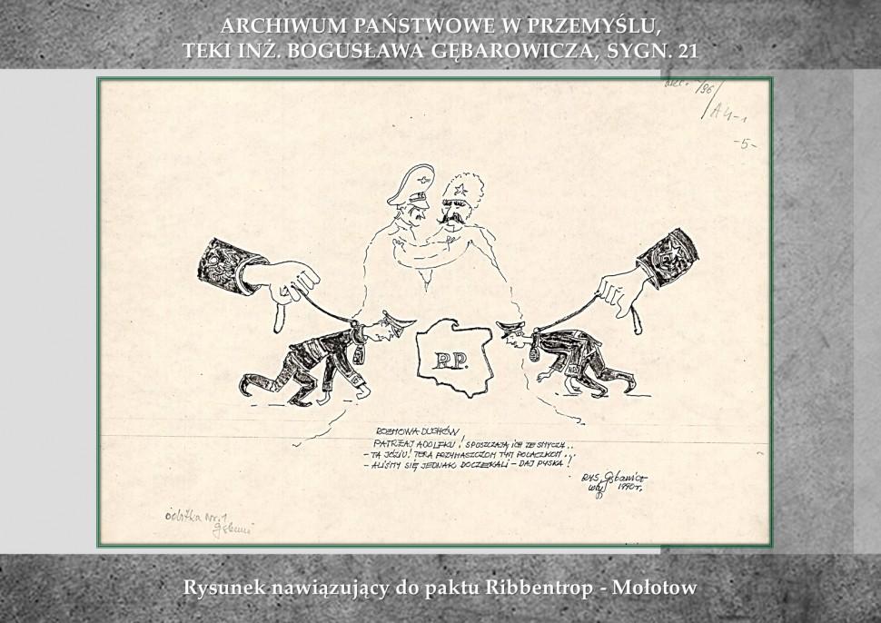 Rysunek nawiązujący do paktu Ribbentrop - Mołotow
