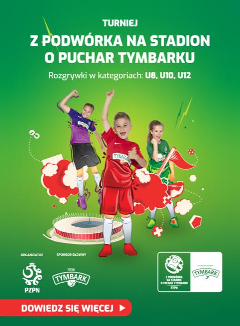 Trójka cieszących się dzieci w strojach piłkarskich, plakat zapraszający do udziału w turnieju z Podwórka na stadion o Puchar Tymbarku. Logo organizatora