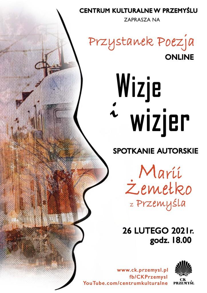 Afisz spotkania autorskiego Marii Żemełko. Tekst alternatywny w pliku poniżej