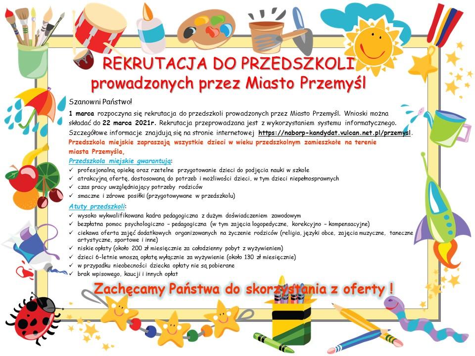 Plakat informujący o zasadach naboru do przedszkoli miejskich i korzyściach. Tekst alternatywny w załączniku poniżej