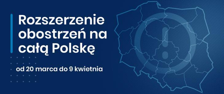 baner z konturami Polski i napisem: Rozszerzenie obostrzeń na cała Polskę od 20 marca do 9 kwietnia