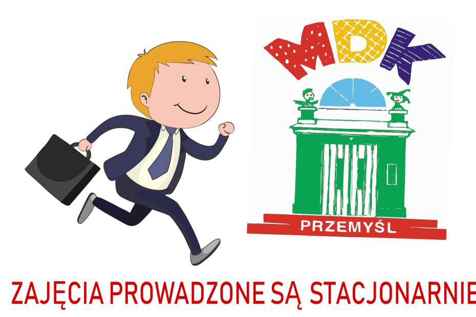 Baner zachęcający do udziału w zajęciach - logo MDK i rysunek biegnącego chłopca w garniturze z teczką
