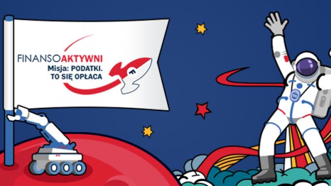 Baner promujący konkurs: Astronauta na niebieskim tle, gwiazdy i łazik trzymający na wysięgniku flagę z napisem Finansoaktywni Misja: podatki. To się opłaca