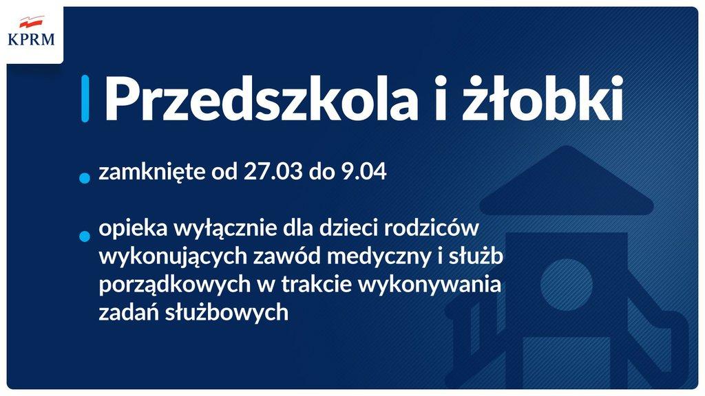 tablica informacyjna z treścią: Przedszkola i żłobki  - zamknięte od 27.03 do 09.04 - opieka wyłącznie dla dzieci rodziców wykonujących zawód medyczny i służb porządkowych w trakcie wykonywania zadań służbowych