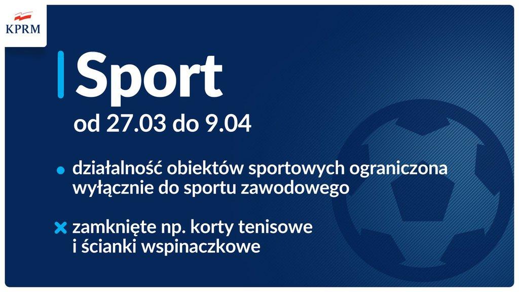 tablica informacyjna z treścią Sport od 27.03 do 09.04 działalność obiektów sportowych ograniczona wyłącznie do sportu zawodowego zamknięte np. korty tenisowe i ścianki wspinaczkowe