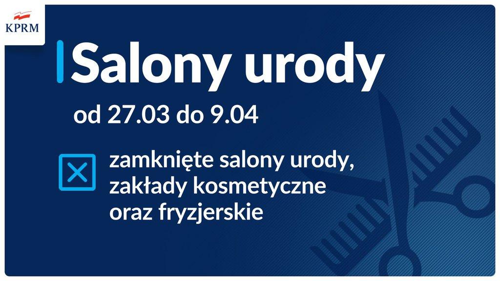 tablica informacyjna z treścią: Salony urody od 27.03 do 09.04 zamknięte salony urody, zakłady kosmetyczne oraz fryzjerskie