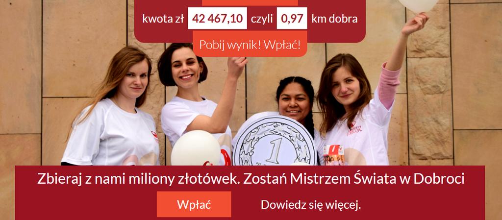 """Plansza promująca akcję """"Kilometry dobra"""". Na planszy znajdują się cztery kobiety i napis: Zbieraj z nami miliony złotówek. Zostań mistrzem świata w dobroci!"""