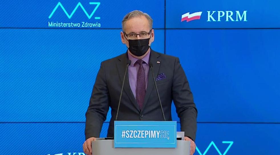 Zdjęcie - minister zdrowia Adam Niedzielski podczas konferencji prasowej 7 kwietnia br.