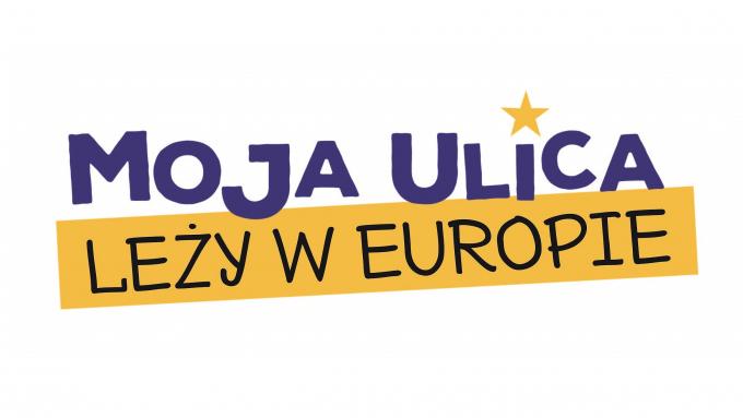 logo konkursu z kolorowym napisem Moja ulica leży w Europie