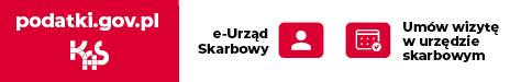 Pasek zawierający logo Krajowej Administracji Skarbowej, adres strony internetowej: podatki.gov.pl oraz dopiski: e-urząd skarbowy i umów wizytę w urzędzie skarbowym