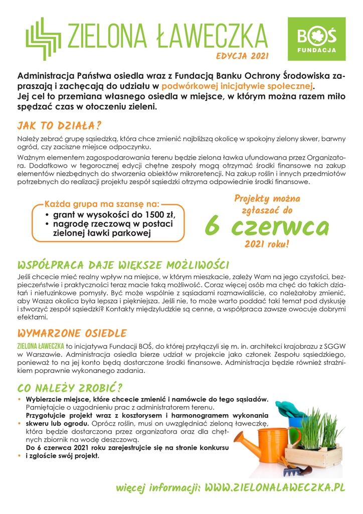 """Ulotka promująca akcję """"Zielona Ławeczka 2021"""". Treść do pobrania w zamieszczonym poniżej pliku pdf."""