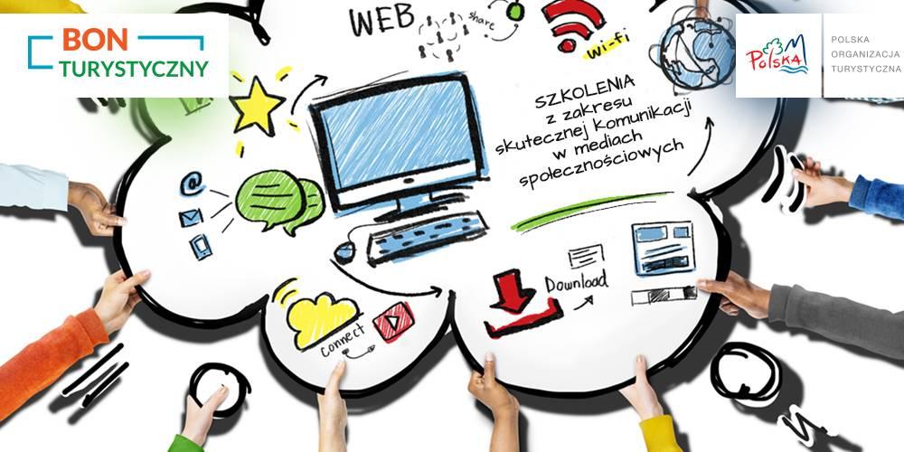 """kolorowa tablica promująca szkolenia z zakresu skutecznej komunikacji w mediach społecznościowych pn. """"Bądź aktywny - daj się znaleźć!"""""""