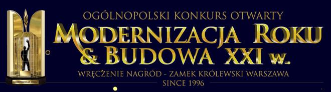 Tablica promująca 25. edycję ogólnopolskiego konkursu otwartego Modernizacja Roku i Budowa XXI w.