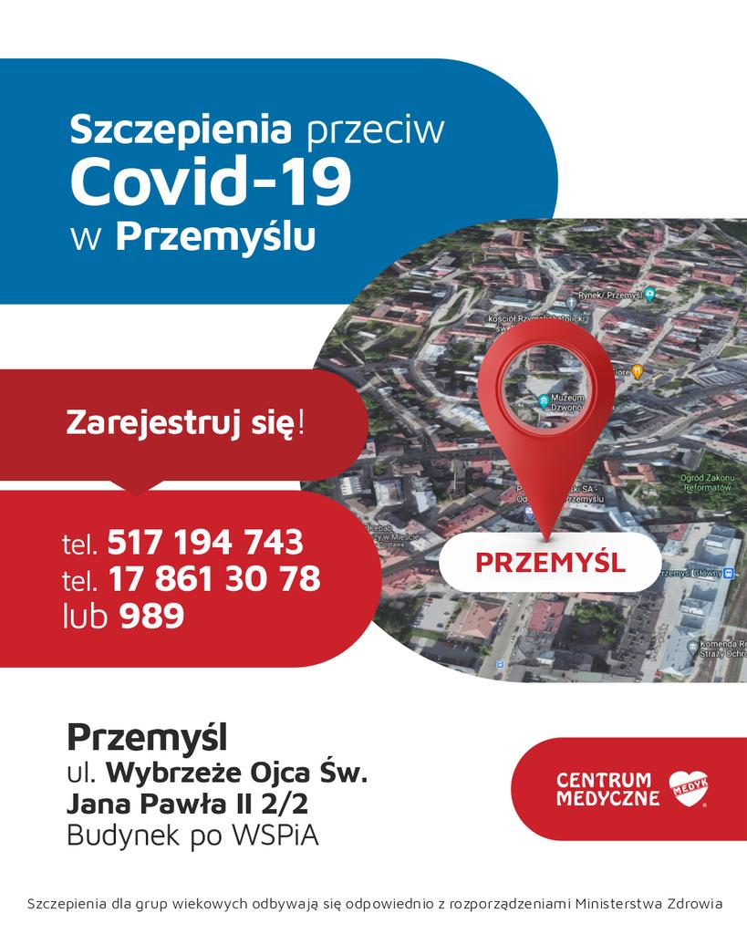 Plansza promująca szczepienia przeciw COVID-19, realizowane przez CM MEDYK w budynku ulicy Wybrzeże Ojca Świętego Jana Pawła II 2/2 (w którym niegdyś mieściło się kino Bałtyk).