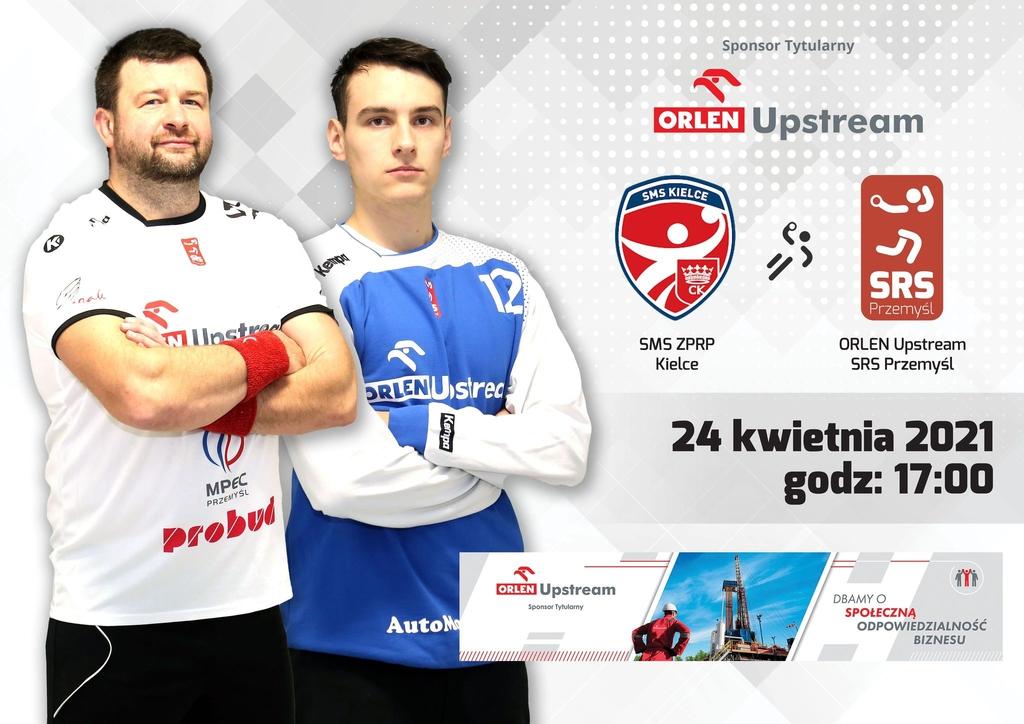 Plakat zapowiadający mecz z dwójką zawodników Orlen Upstream SRS i logami zespołów