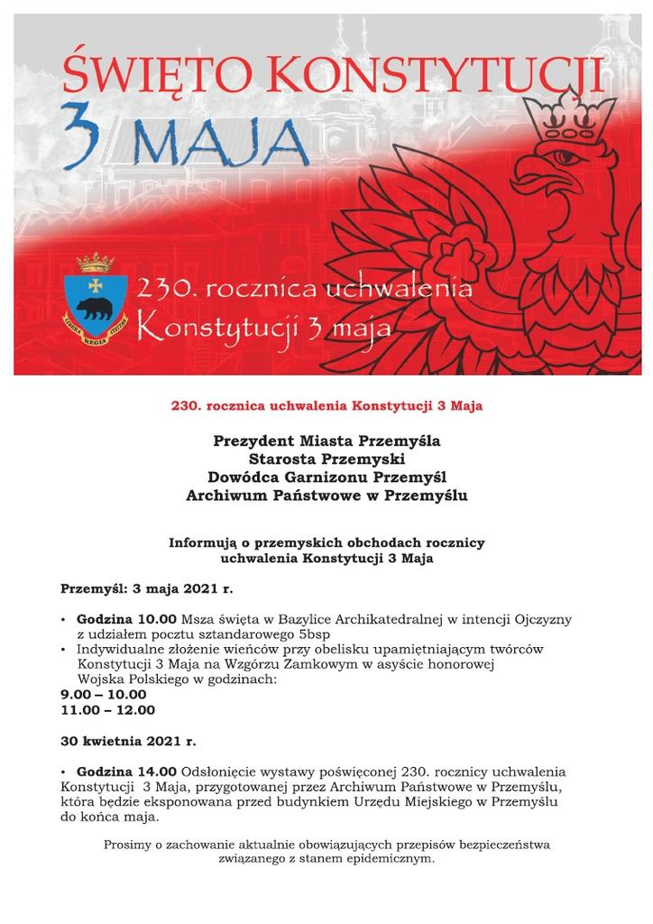 Plakat z programem obchodów 230. rocznicy uchwalenia Konstytucji 3 Maja w barwach biało czerwonych. Treść w tekście komunikatu