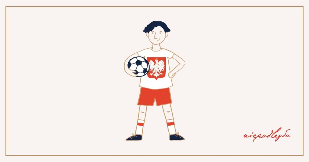 Baner promujący akcję - rysunek piłkarza z piłką w stroju narodowym