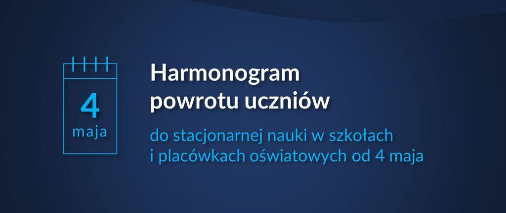 Baner - Harmonogram powrotu uczniów do stacjonarnej nauki w szkołach i placówkach oświatowych od 4 maja