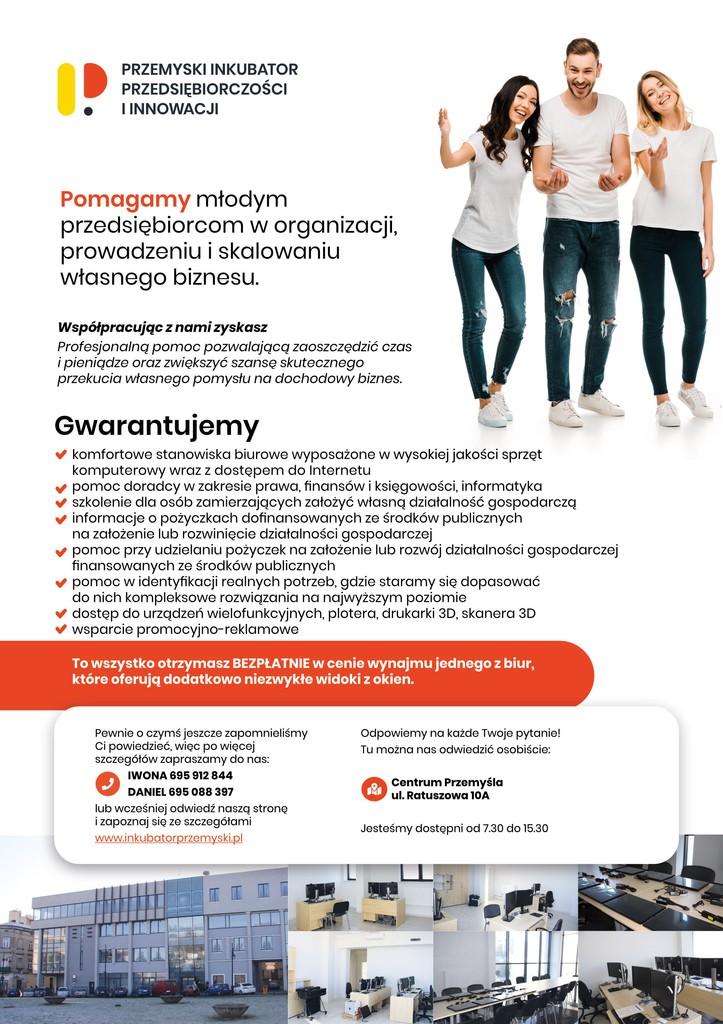 Plakat z informacją o działalności Przemyskiego Inkubatora Przedsiębiorczości. Tekst plakatu poniżej