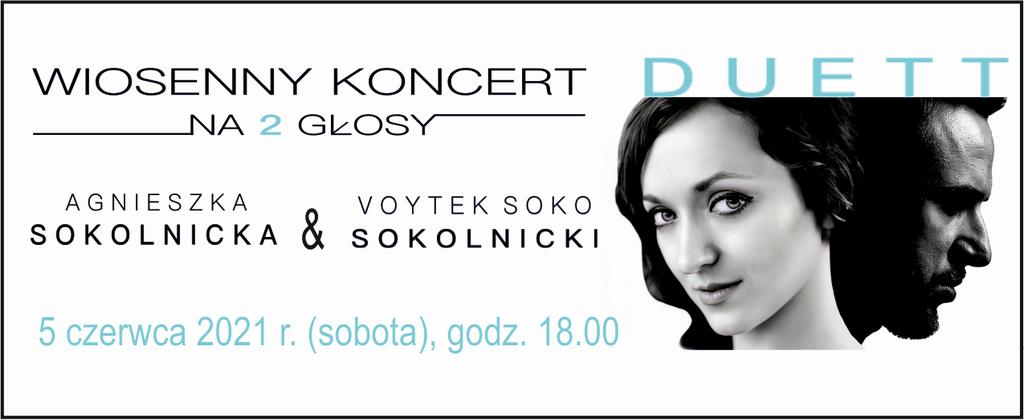 baner promujący Koncert wiosenny z wizerunkami artystów
