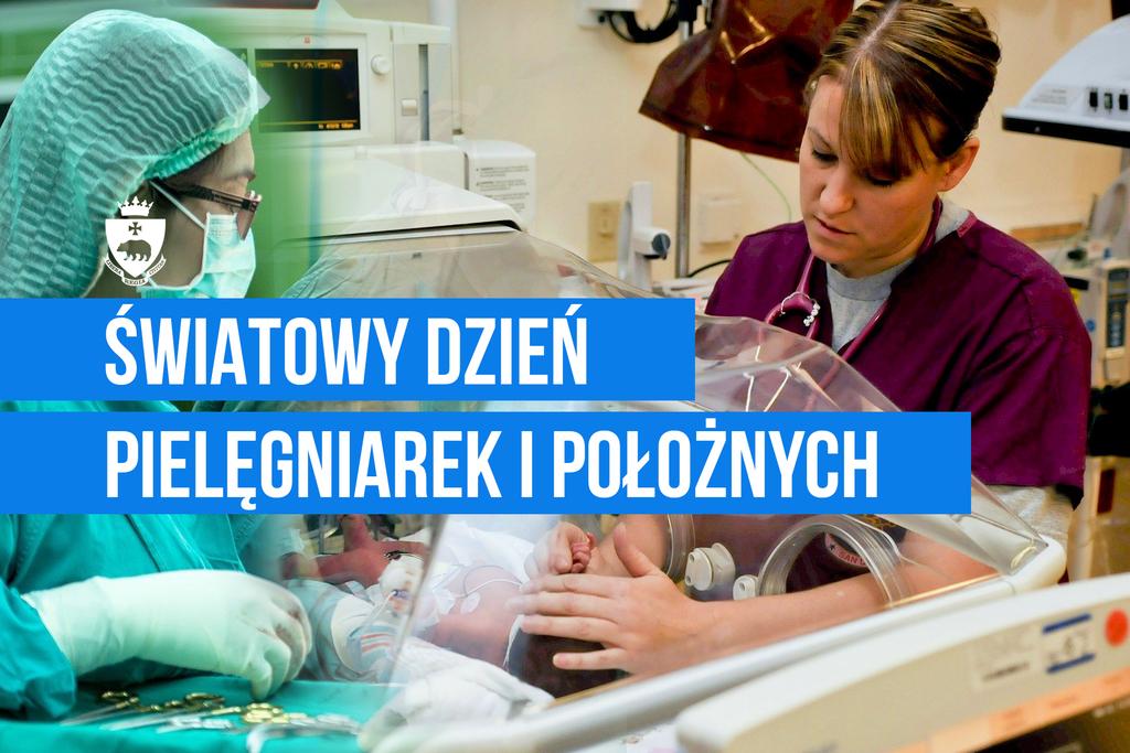 Grafika poglądowa - Międzynarodowy Dzień Pielęgniarek i Położnych. Na zdjęciu pielęgniarki przy pracy