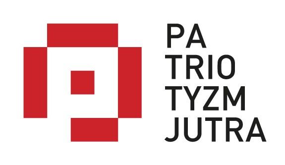 Baner z logo programu i napisem Patriotyzm jutra, utrzymany w kolorach biało-czerwonych