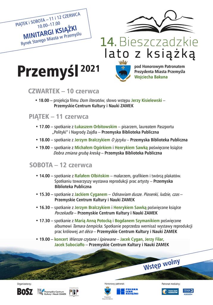 Plakat Bieszczadzkiego Lata z Książką wraz z programem - treść w pliku poniżej Na zdjęciu wzgórze bieszczadzkie, logo imprezy