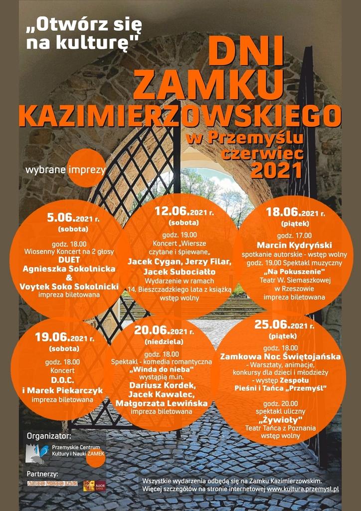 Plakat Dni Zamku Kazimierzowskiego - w tle brama Zamku, treść programu w treści komunikatu