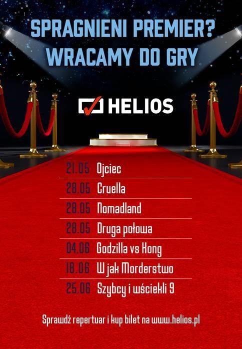 Plakat z tytułami premierowych seansów filmowych w maju i czerwcu