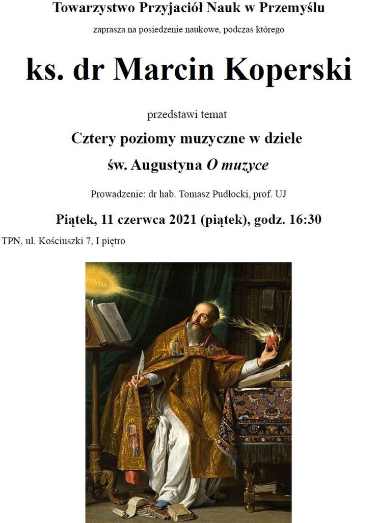 Plakat z zaproszeniem na wykład dr Marcina Koperskiego - treść w komunikacie, obraz z wizerunkiem św. Augustyna