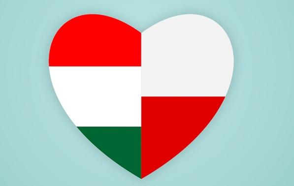 flagi Polski i Węgier ułożone w kształt serca
