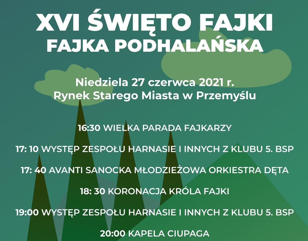 Plakat promujący Święto Fajki, utrzymany w tonacji zielonych kolorów, ze stylizowanym zarysem gór i chmur. Tekst programu znajduje się w treści komunikatu