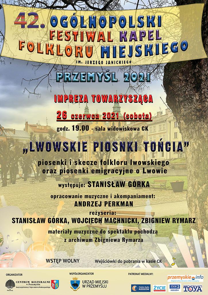 Plakat informujący o imprezie towarzyszącej, treść programu w treści komunikatu