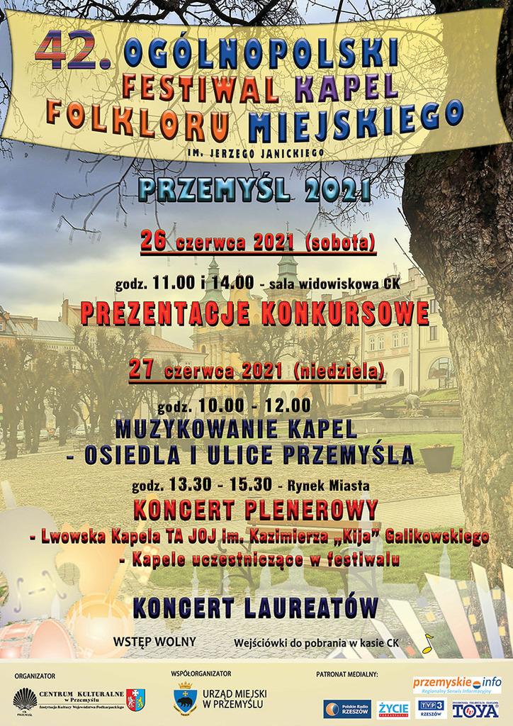 Plakat Festiwalu - w tle panorama Rynku, w treści program imprezy, który znajduje się w komunikacie