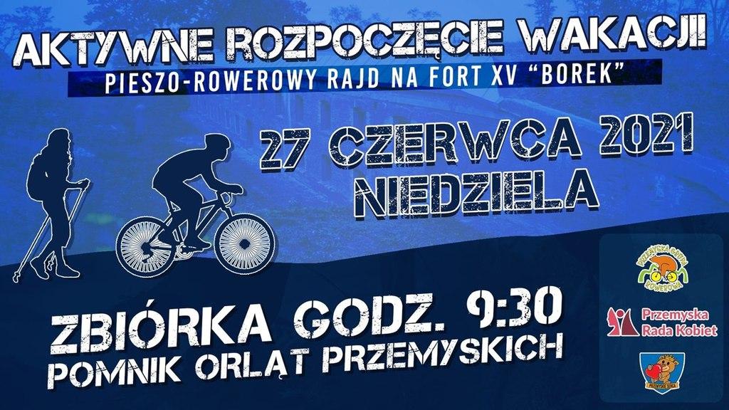 Baner promujący akcję. Na grafice rowerzysta i osoba uprawiająca nordic walking. Tekst powtórzony w treści komunikatu