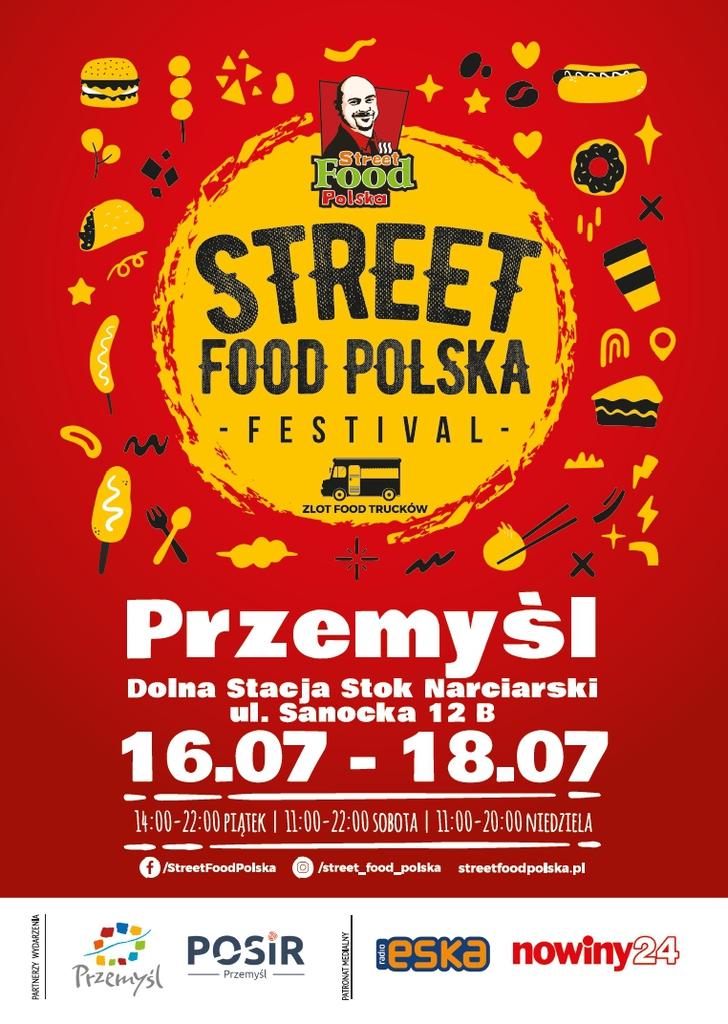 plakat promujący wydarzenie Street Food Polska STREET FOOD POLSKA FESTIVAL - ZLOT FOOD TRUCKÓW Przemyśl Dolna Stacja Stok Narciarski ul. Sanocka 12 B 16.07 - 18.07 14:00-22:00 PIĄTEK | 11:00-22:00 SOBOTA | 11:00-20:00 NIEDZIELA  PARTNERZY WYDARZENIA POSiR eska nowiny24 Przemyśl PATRONAT MEDIALNY Przemyśl