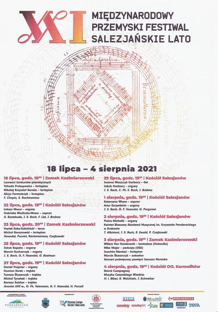 Plakat Festiwalu z logo wydarzenia i programem, który znajduje się w treści komunikatu