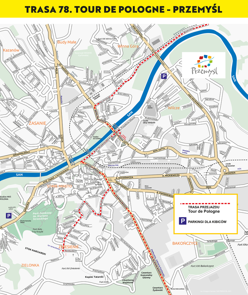 mapa przejazdu kolarzy przez Przemyśl