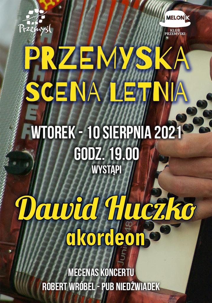 plakat Przemyskiej Sceny Letniej - grafika z akordeonem w tle. Treść powtórzona w komunikacie