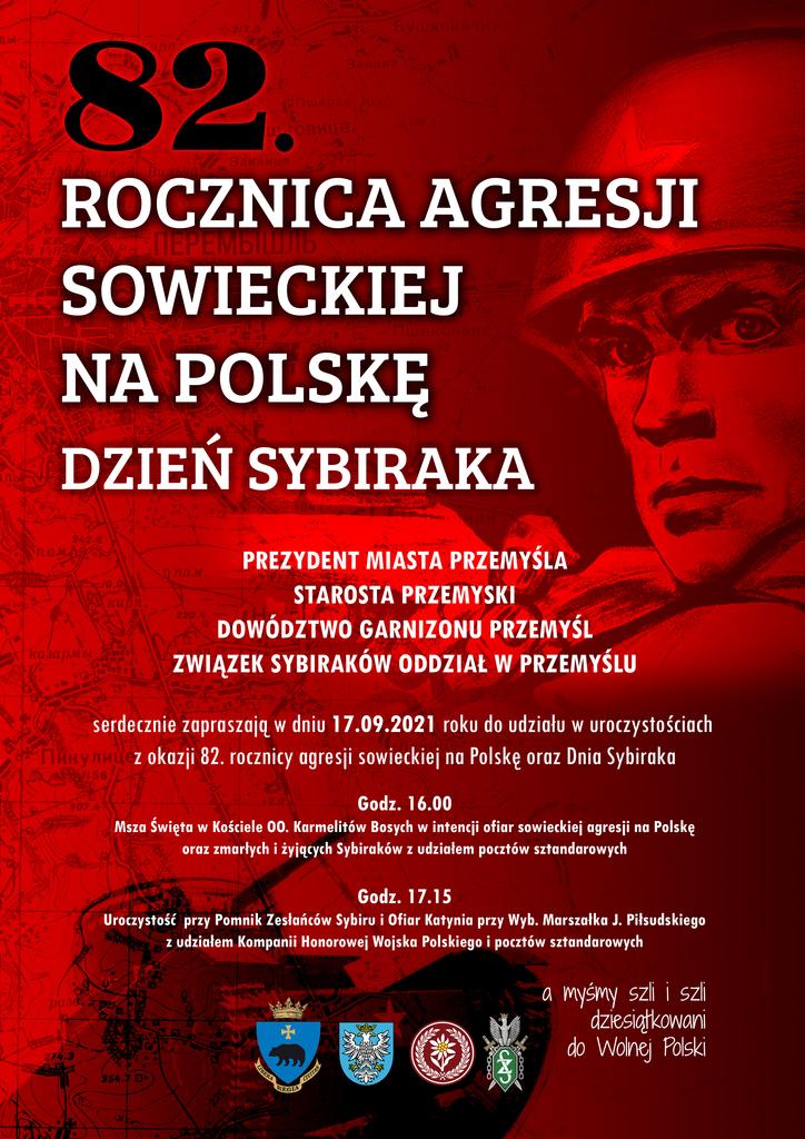 Plakat z programem uroczystości - na czerwonym tle postać żołnierza sowieckiego z gwiazdą na hełmie. Treść napisów powtórzona w komunikacie